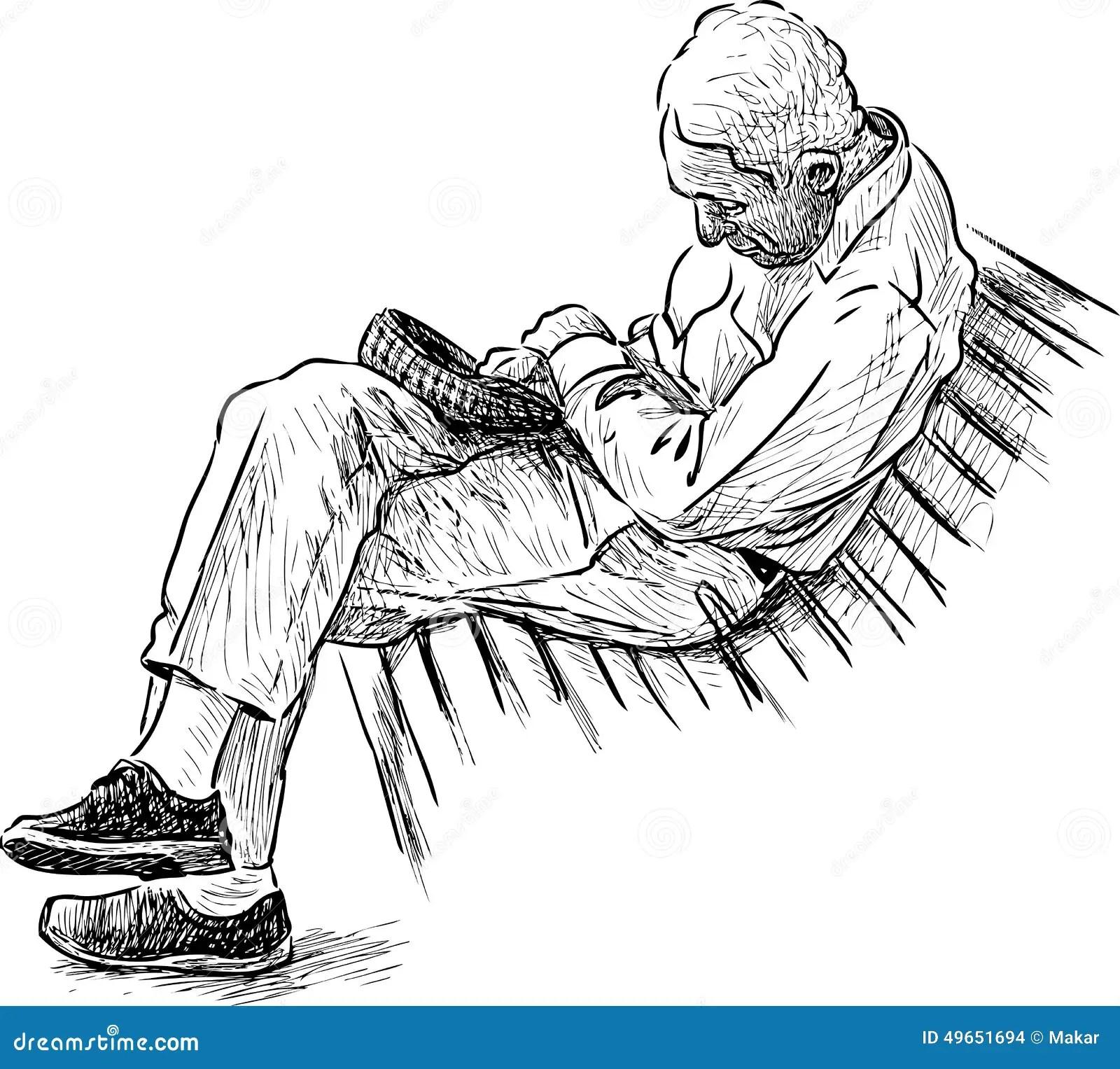 Alter Mann Der Auf Einer Parkbank Schlaft Stockfoto