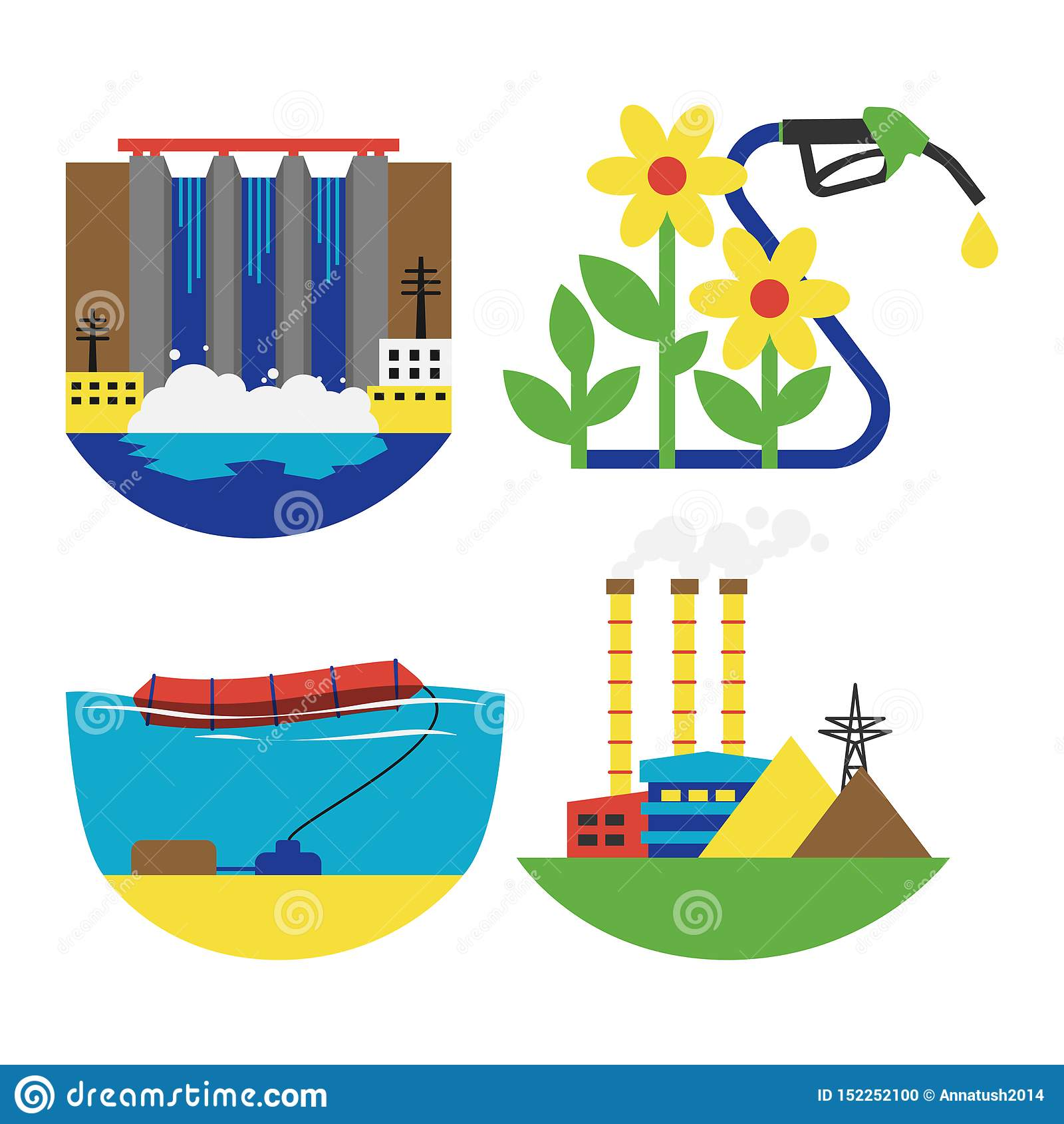 Alternative Energy Source Set Illustration Stock