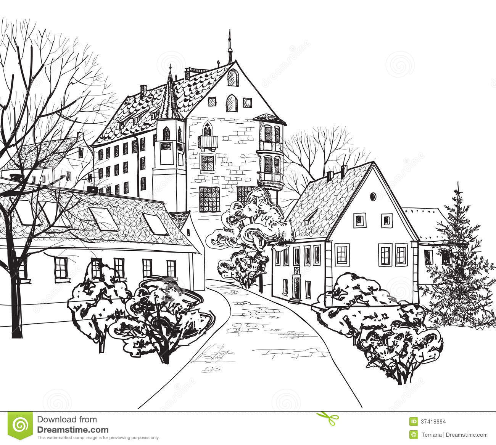 Altes Stadtstadtbild Mit Stra E Skizze Des Historischen