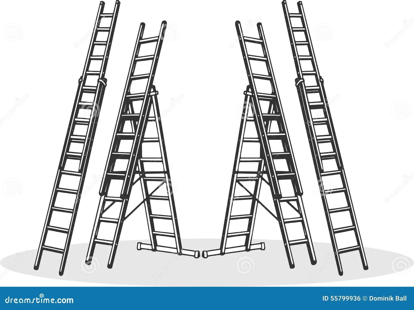 Aluminum Ladders Stock Vector