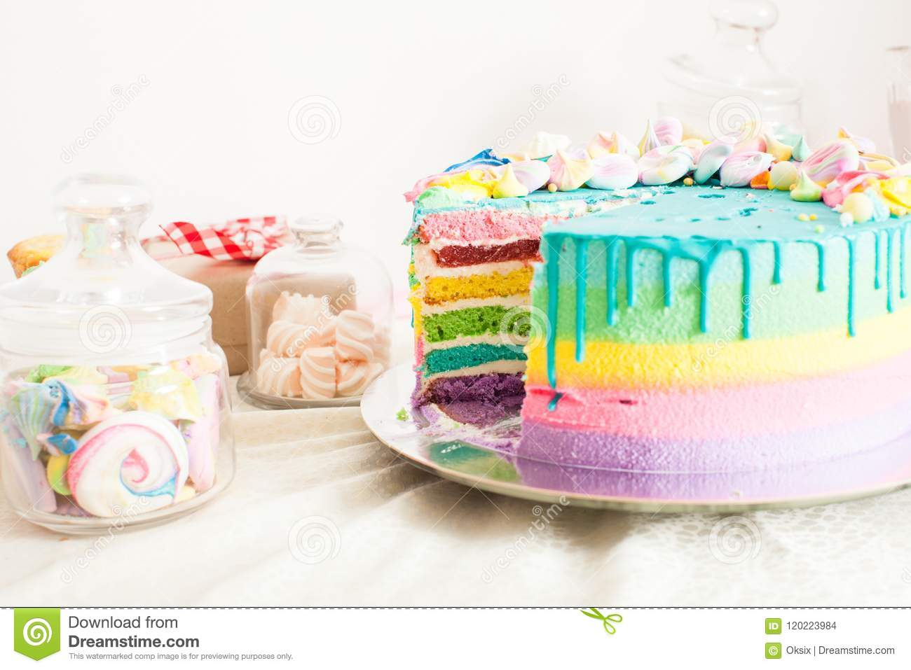 Amazing Birthday Cake With Other Sweets Stock Photo Image Of