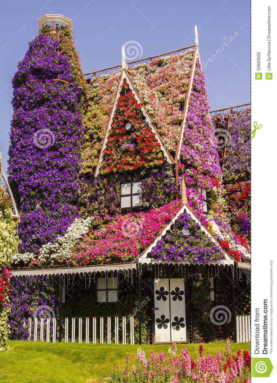 Amazing House Of Flowers In The Miracle Garden Park Stock