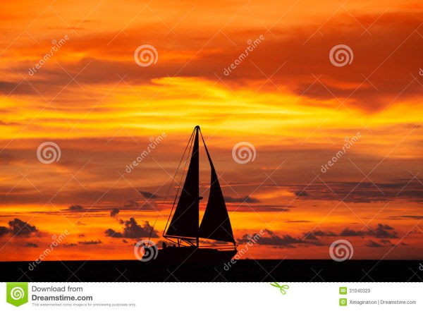Amazing Sunset Landscape And Ship Stock - 31040323