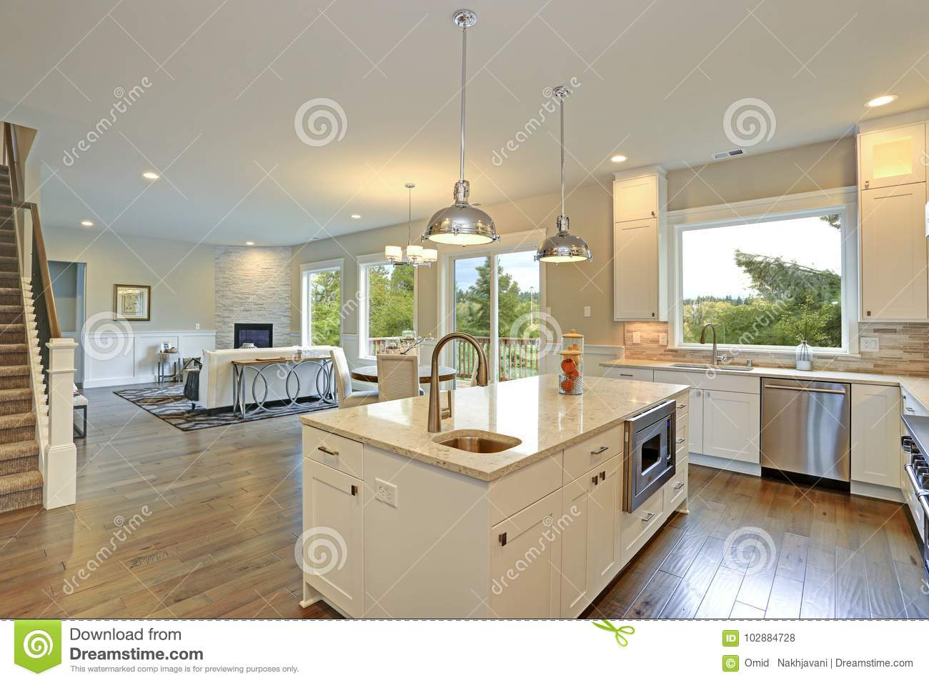 large white kitchen island flooring luxury with stock photo image