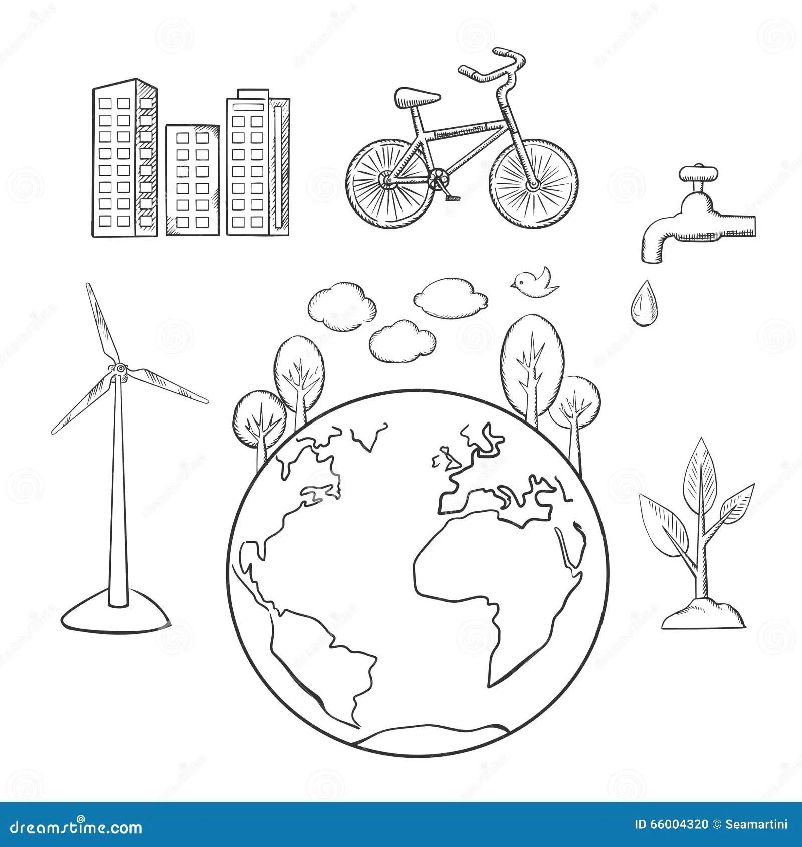 Ambiente Energia Verde Y Bosquejos De La Ecologia
