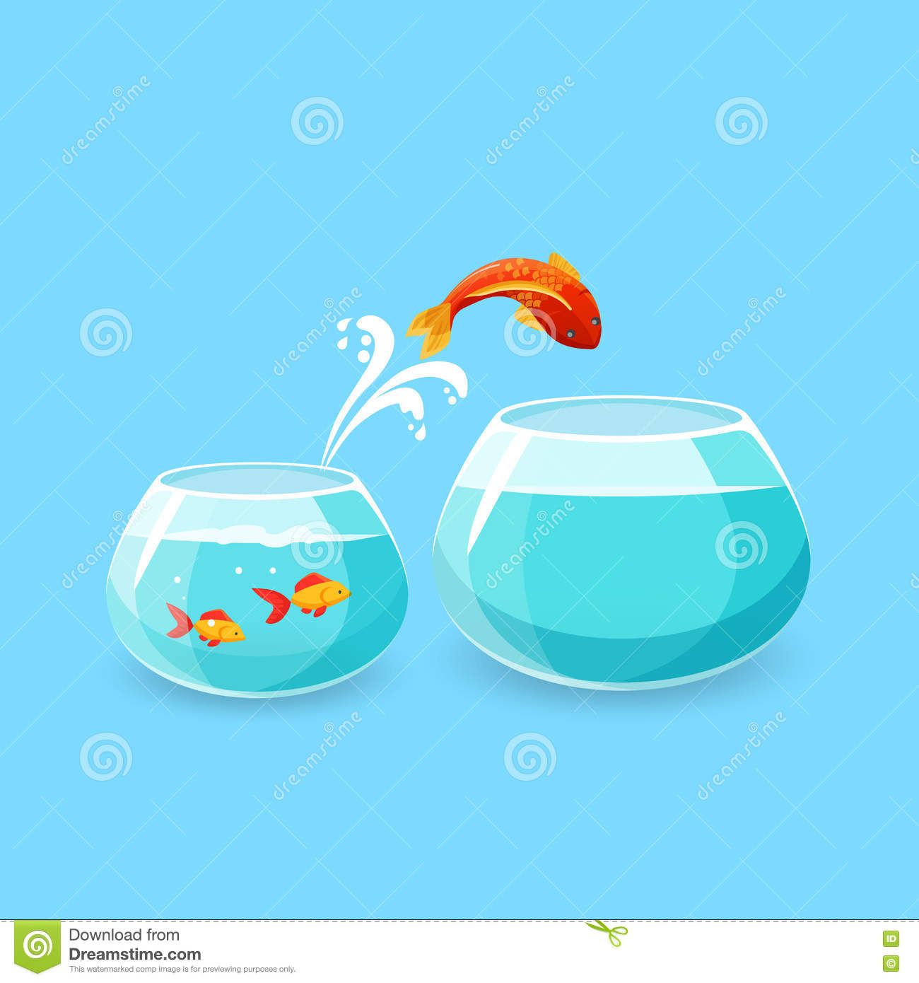 hight resolution of ambition and challenge concept goldfish escape