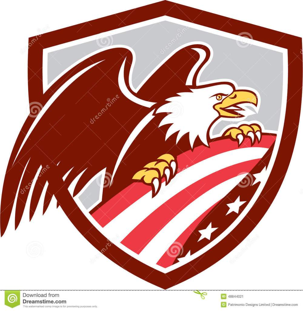 medium resolution of american bald eagle clutching usa flag shield retro