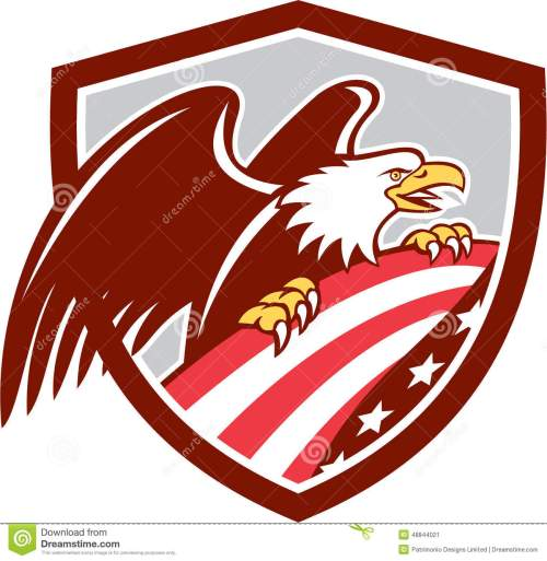 small resolution of american bald eagle clutching usa flag shield retro