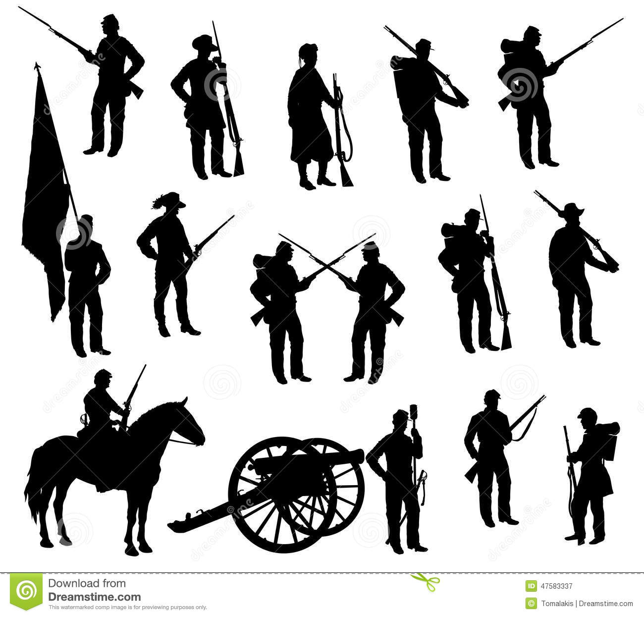 American Civil War Sol Rs Silhouettes Stock Illustration