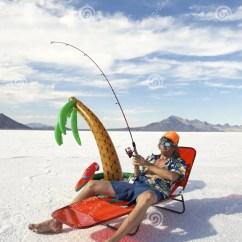 Fishing Rod Chair Aqua Adirondack Chairs Plastic American Fisherman Goes On Cheap Vacation Holiday Stock Image - Image: 35578143