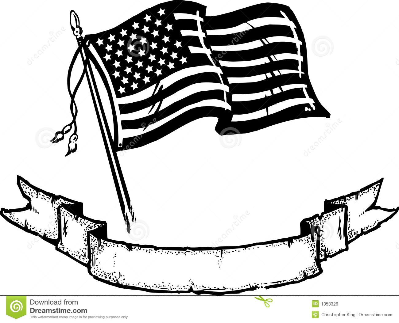 American Flag And Banner Vector Illustration Stock Vector