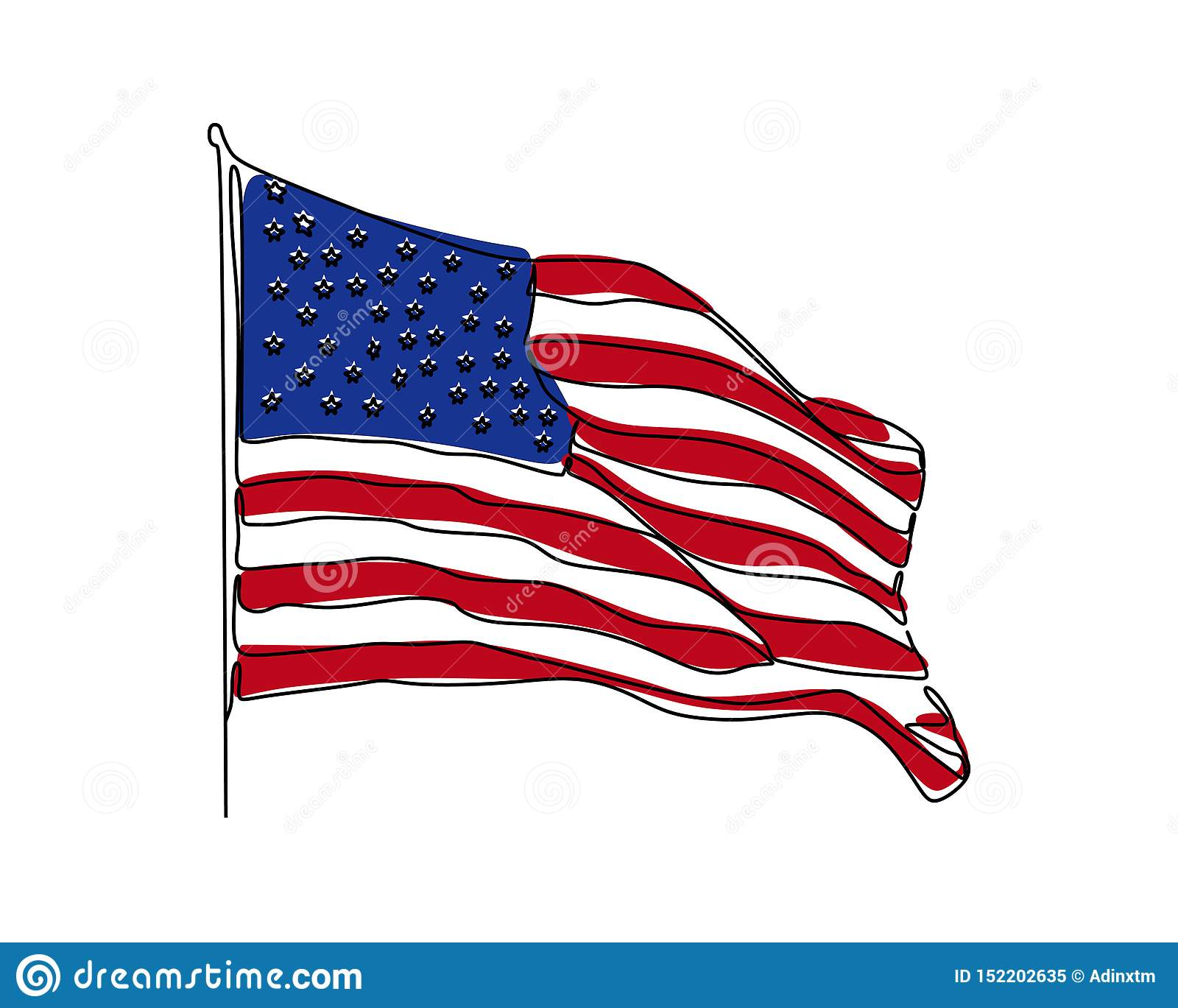 american flag continuous one
