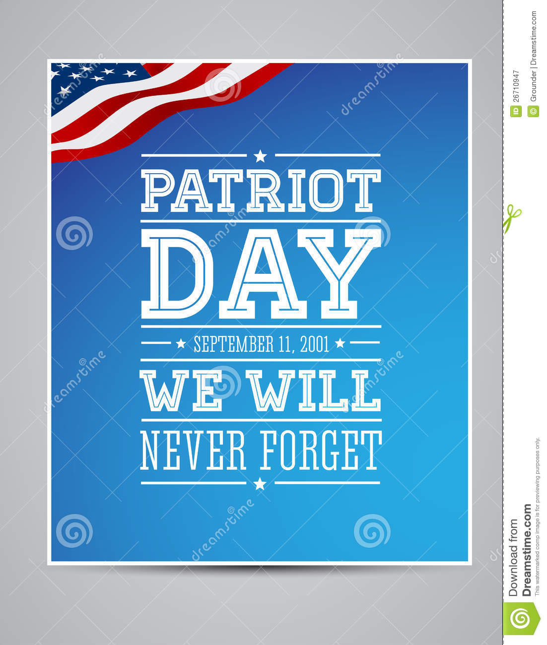 American Flag Words Patriot Day September 11 Stock