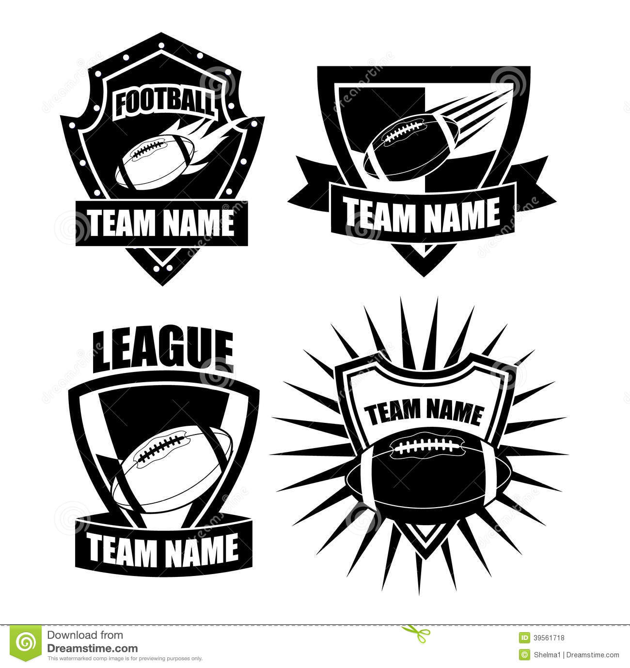 American Football Badge Collection Stock Vector