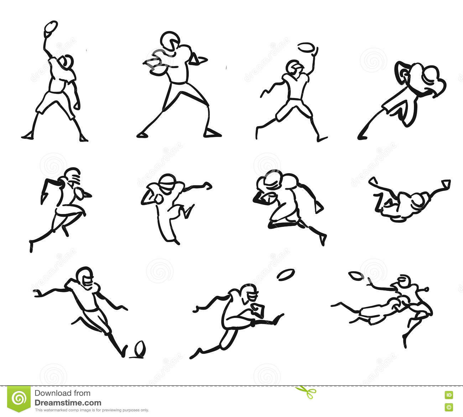 American Football Player Motion Sketch Stu S Stock Vector