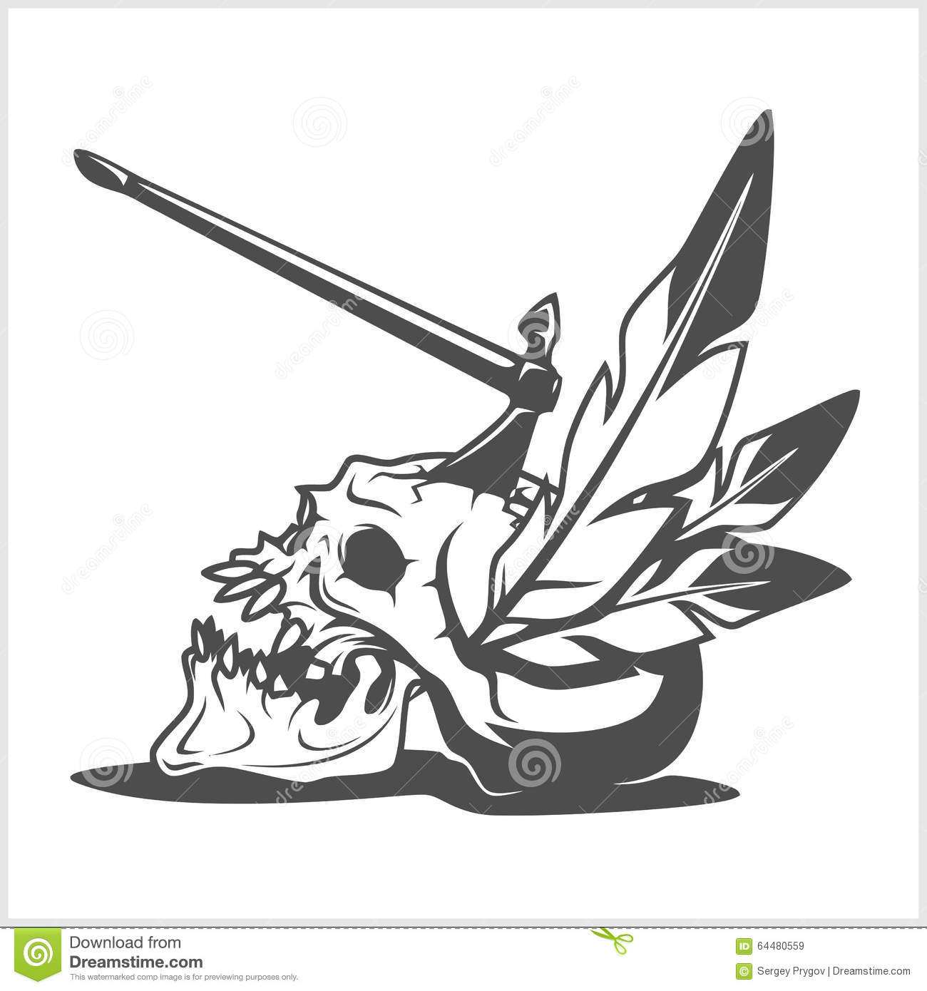 Indian Skull Chief Cartoon Vector