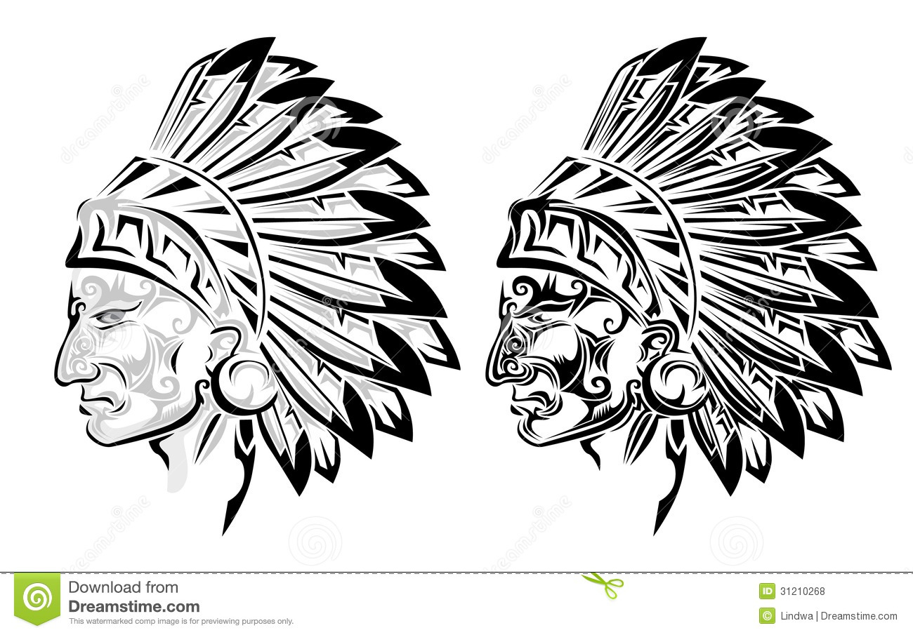 American Indian Chief Tattoo Royalty Free Stock Photos
