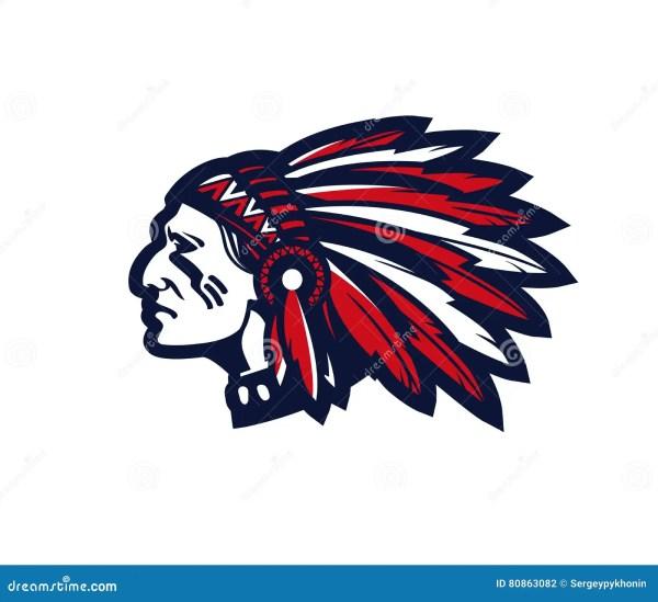 American Indian Chief Vector Logo Icon Stock