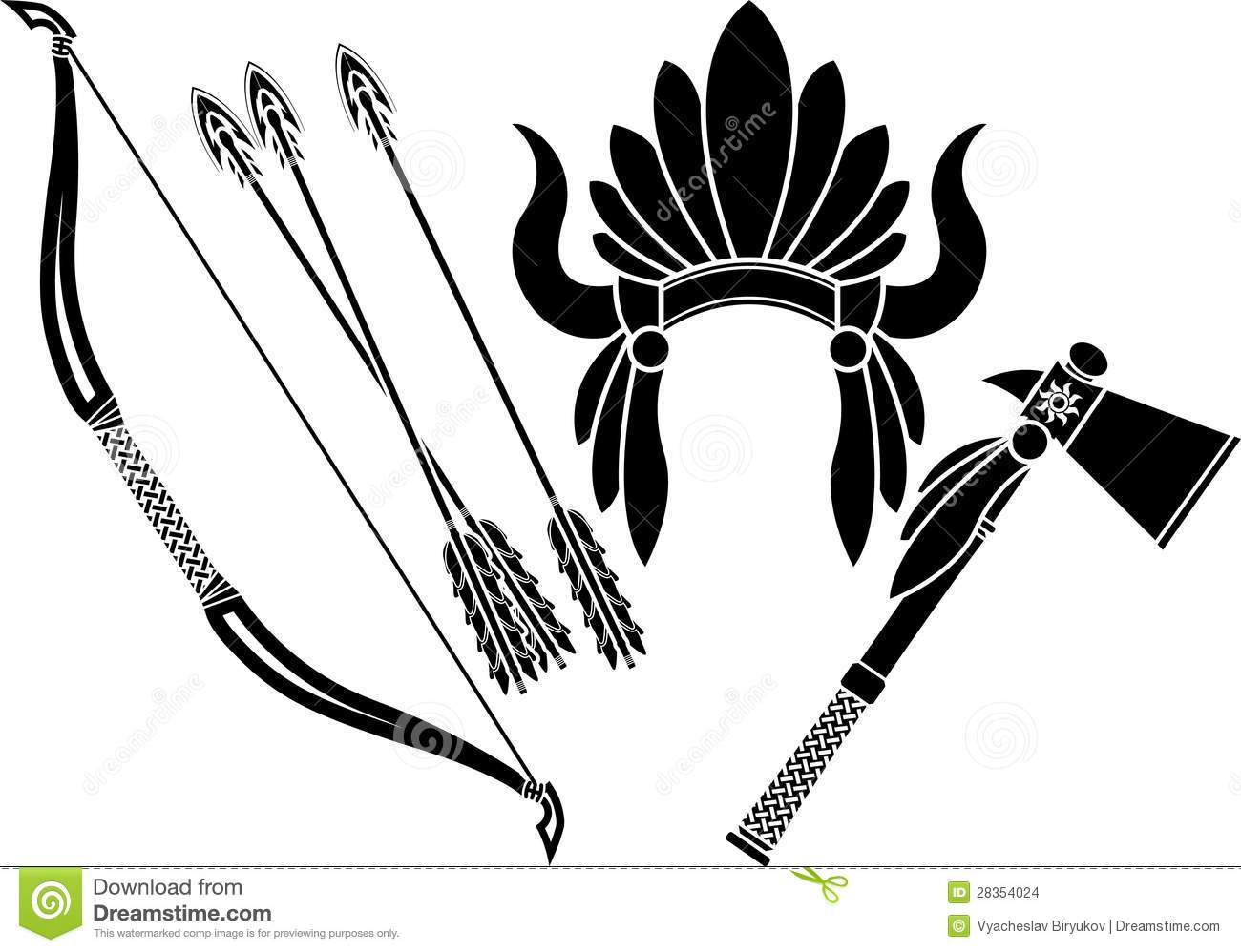 American Indian Headdress Tomahawk And Bow Stock Images