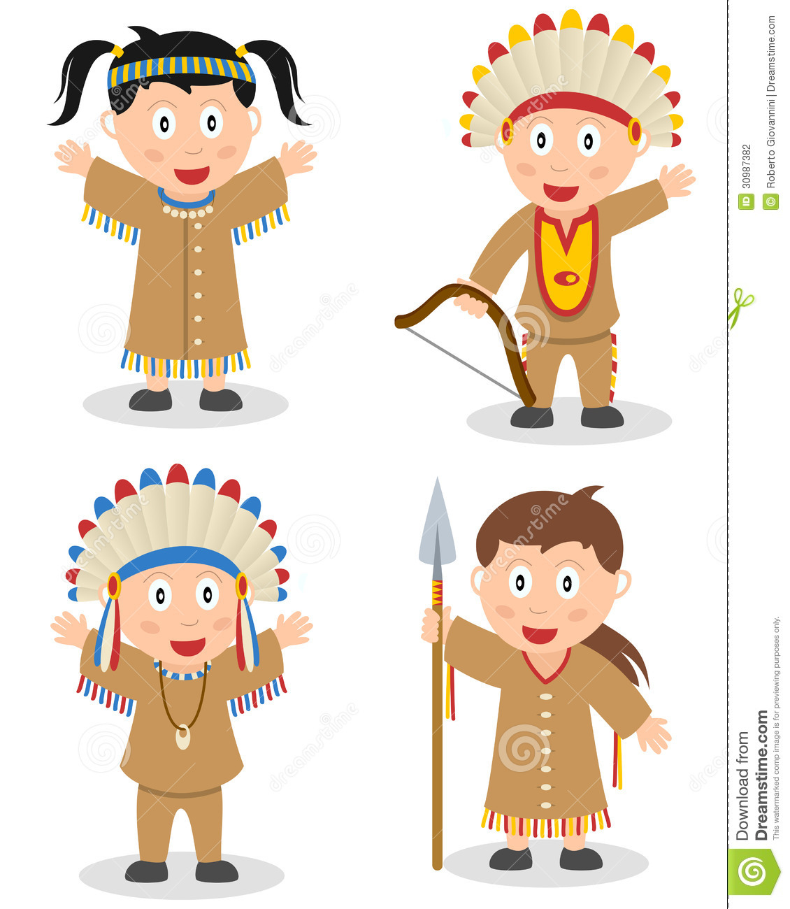 American Indian Kids Collection Stock Vector