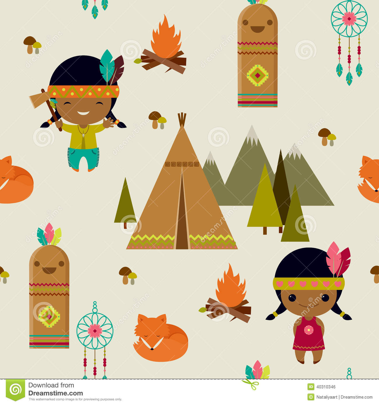 American Indians Seamless Wallpaper Stock Vector