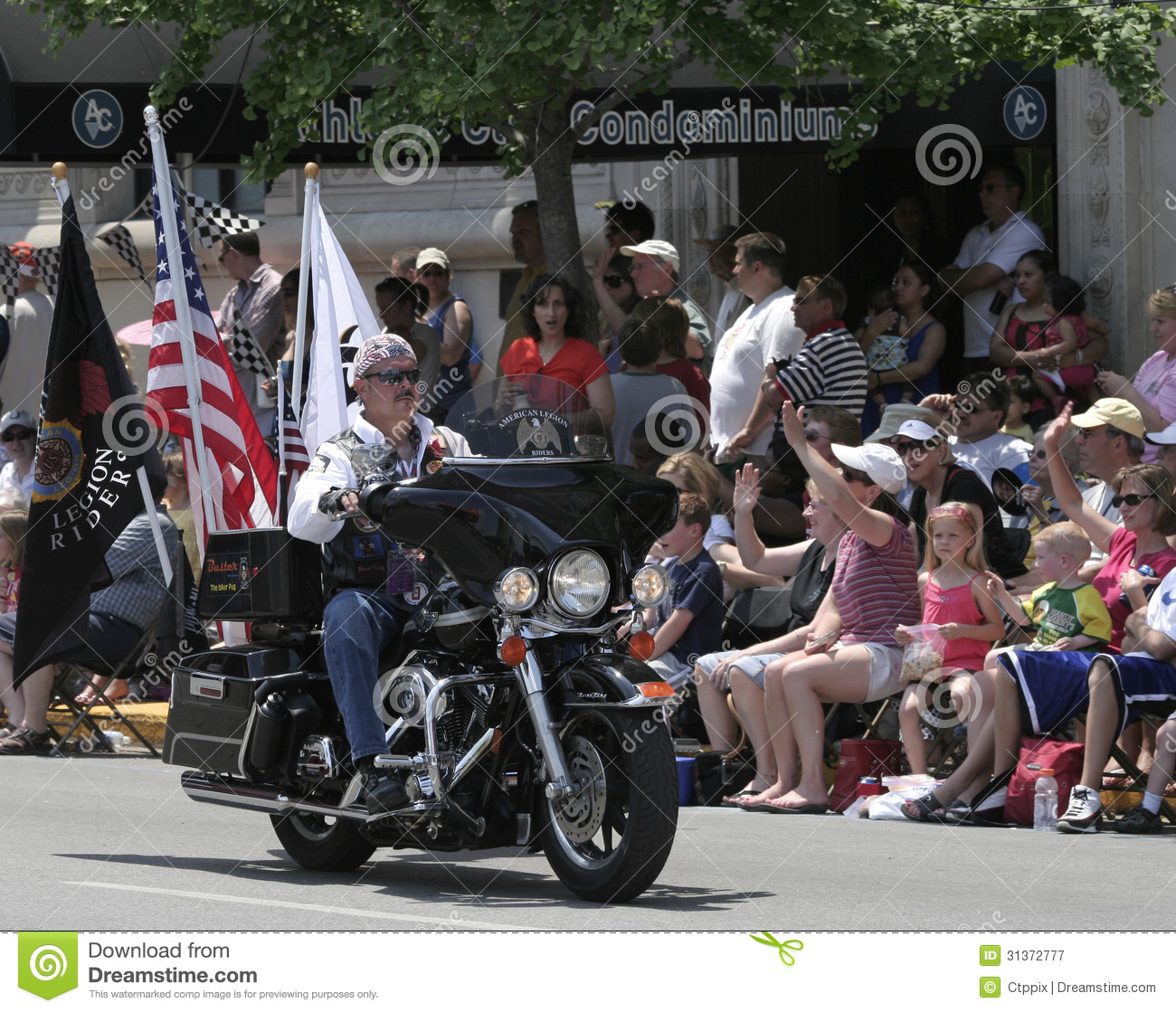 American Legion Riders Member Riding His Motorcycle With