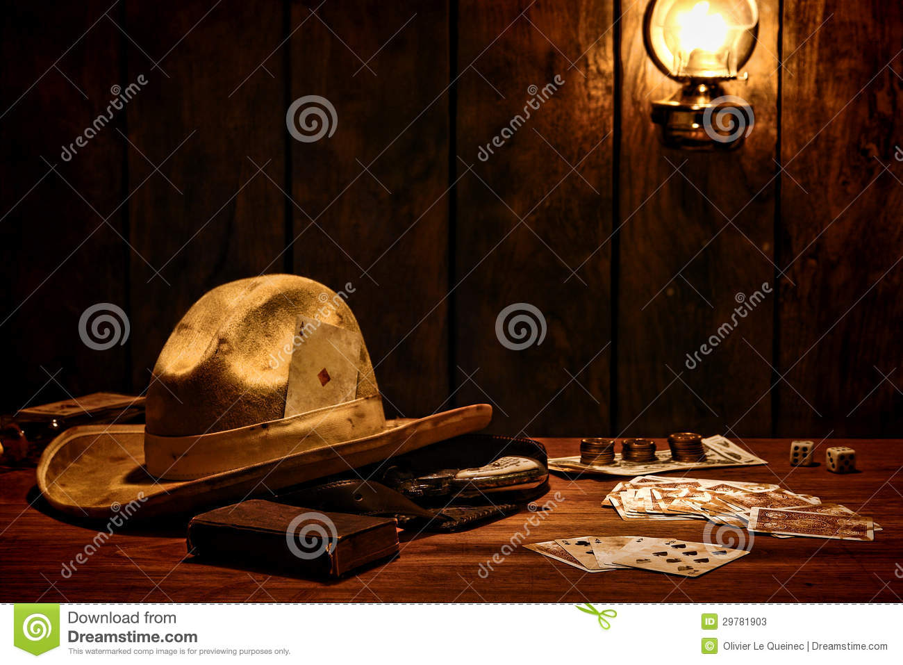 American West Cowboy Hat And Game Cards In Saloon Stock