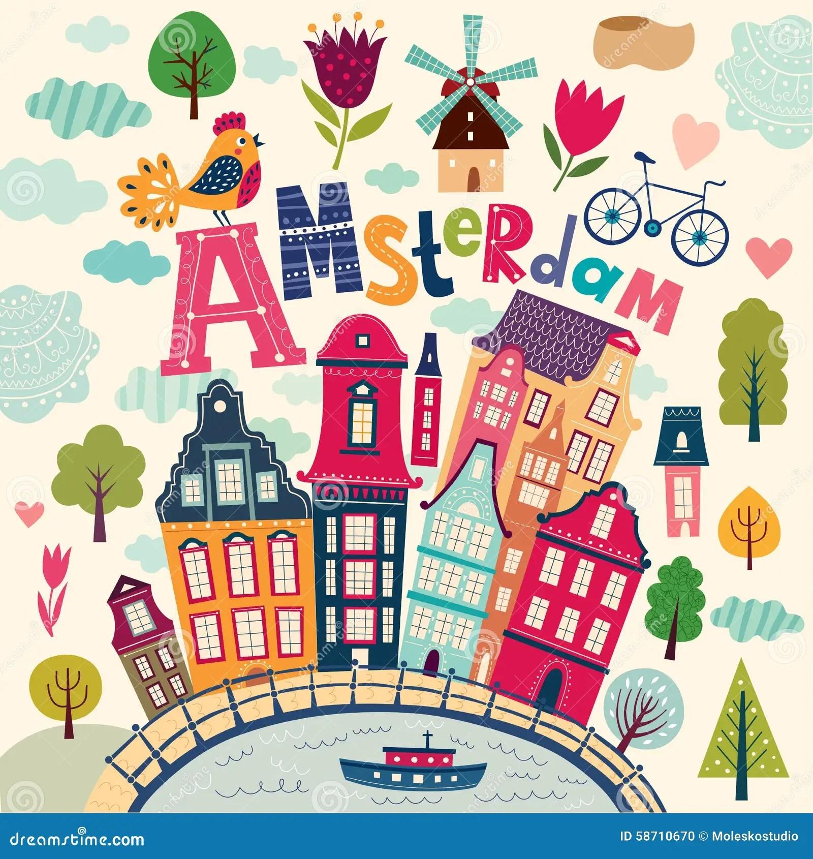 Amsterdam symbols stock vector Image of decorative