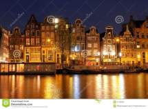 Amsterdam Waterfront Houses Netherlands Stock
