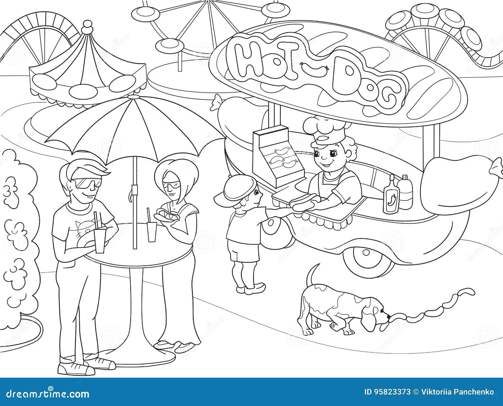 Amusement Park Coloring Pages For Children Hot Dog Food
