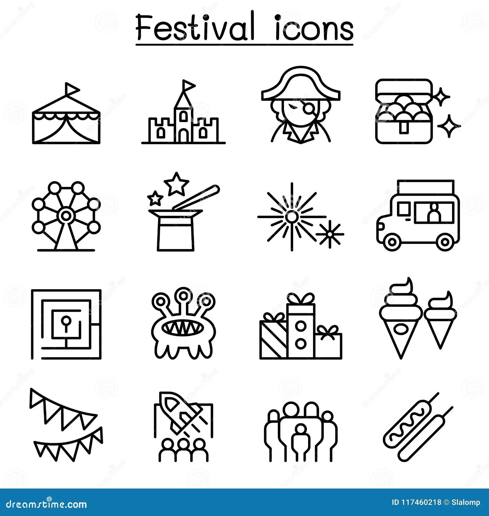Circus Entertainment Icons Set Outline Style Cartoon