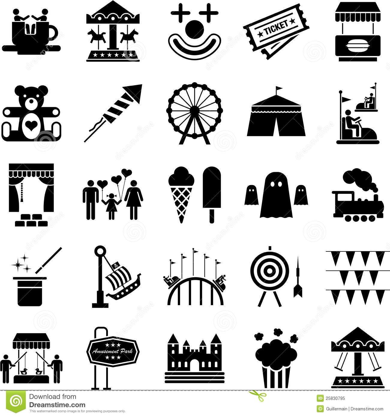 Amusement Park icons stock vector. Illustration of emotion
