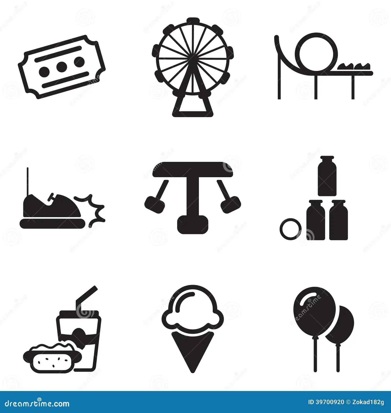 Amusement Park Icons Stock Vector