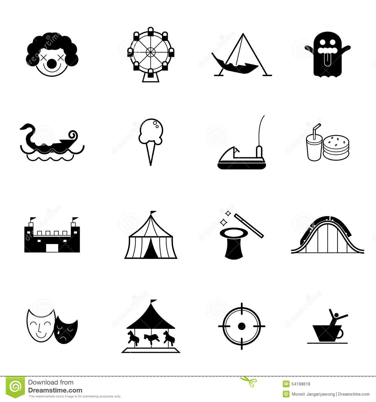 Amusement Park And Theme Park Icon Vector Set Stock Vector