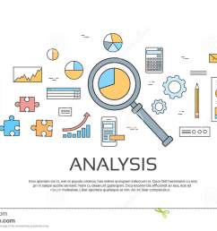 analysis concept finance diagram infographic magnifying glass set thin line collection [ 1300 x 904 Pixel ]