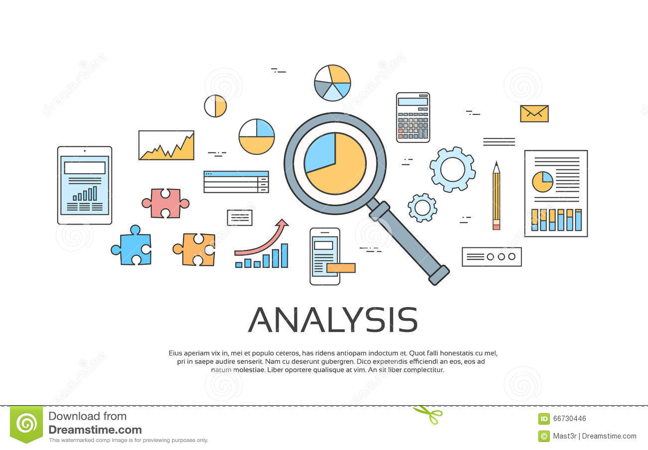 hight resolution of analysis concept finance diagram infographic magnifying glass set thin line collection