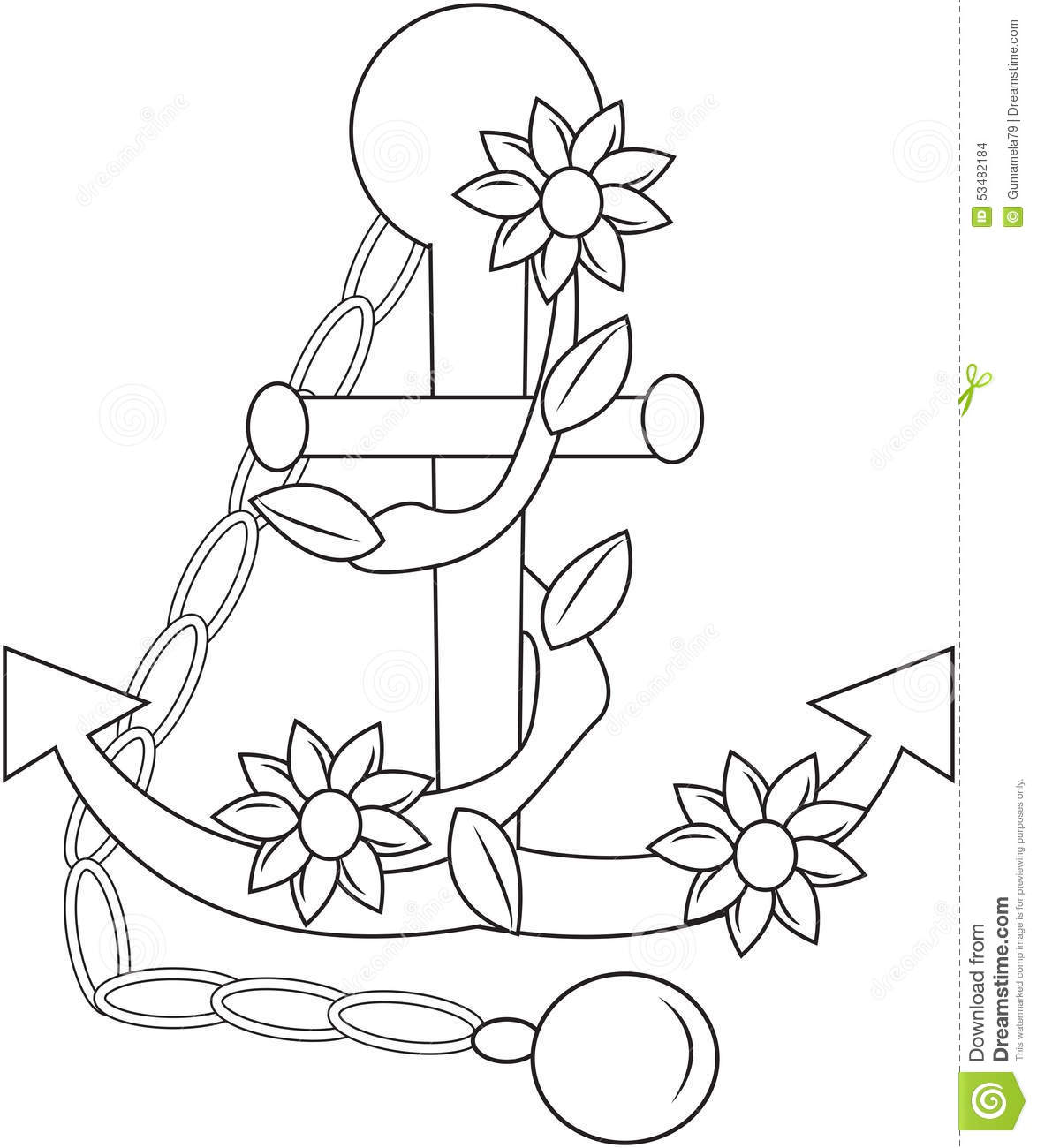 Sea Anchor Coloring Vector For Adults