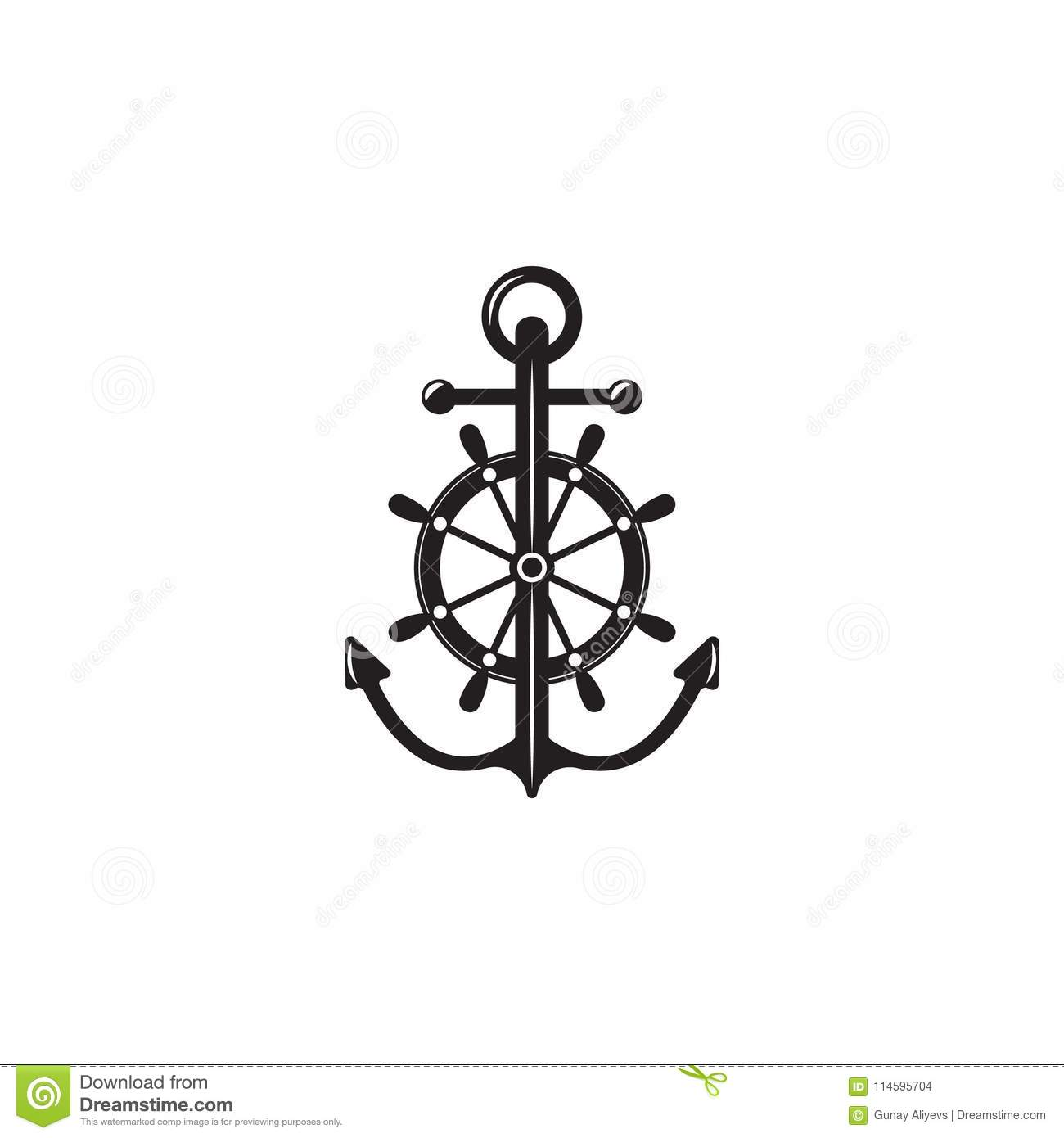 Anchor With Steering Wheel Icon. Element Of Ship
