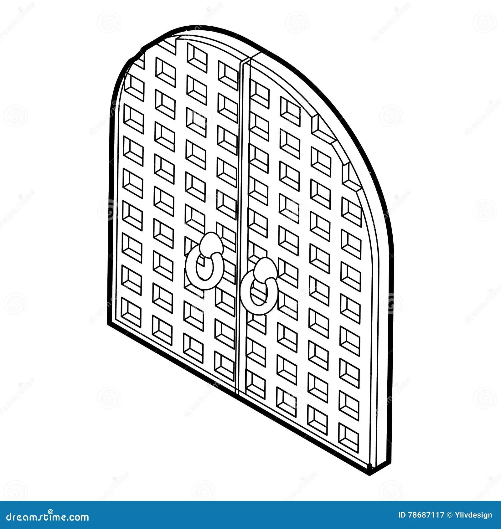 Arched Double Door Icon Cartoon Style Cartoon Vector