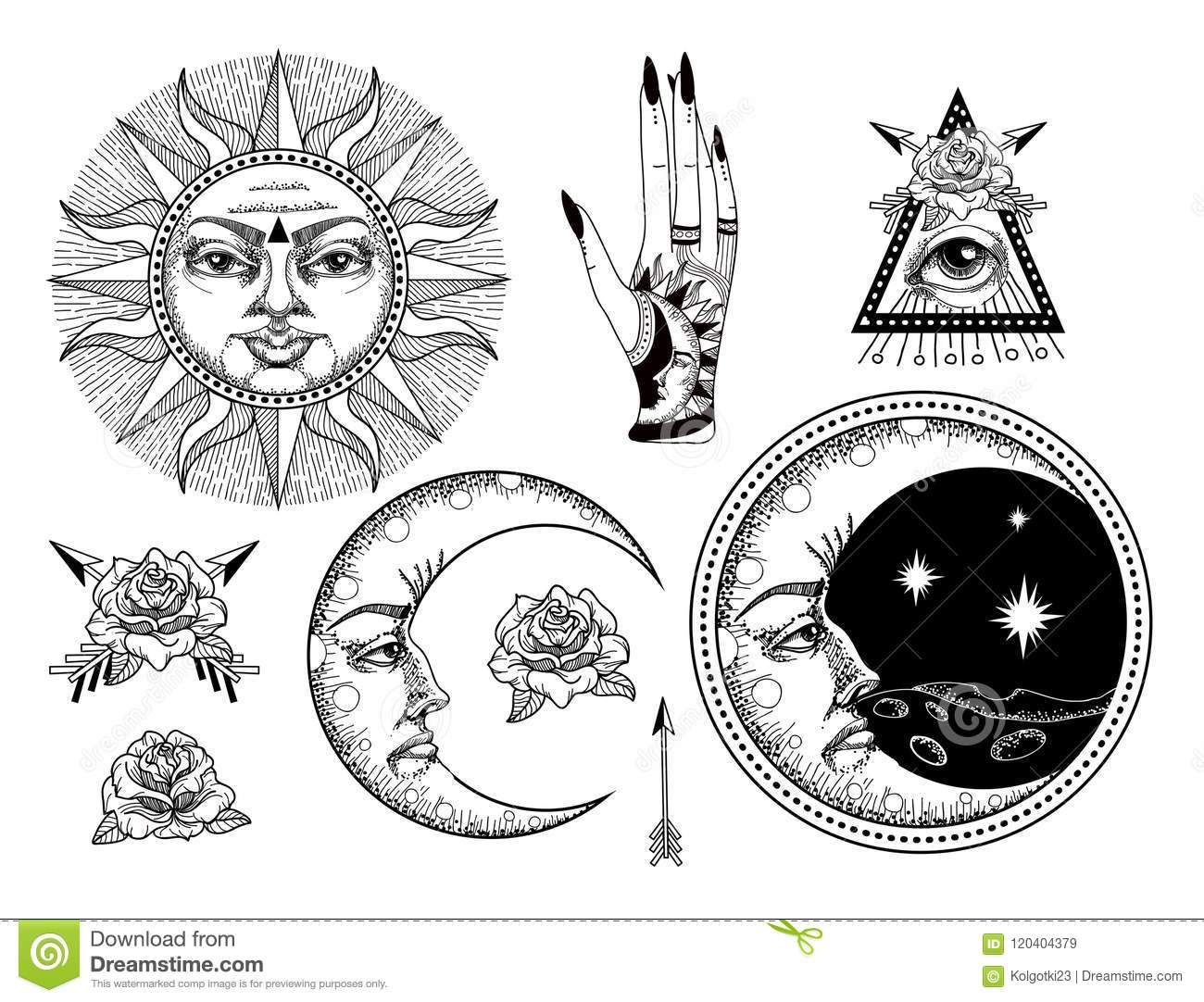 An Ancient Astronomical Illustration Of The Sun, The Moon