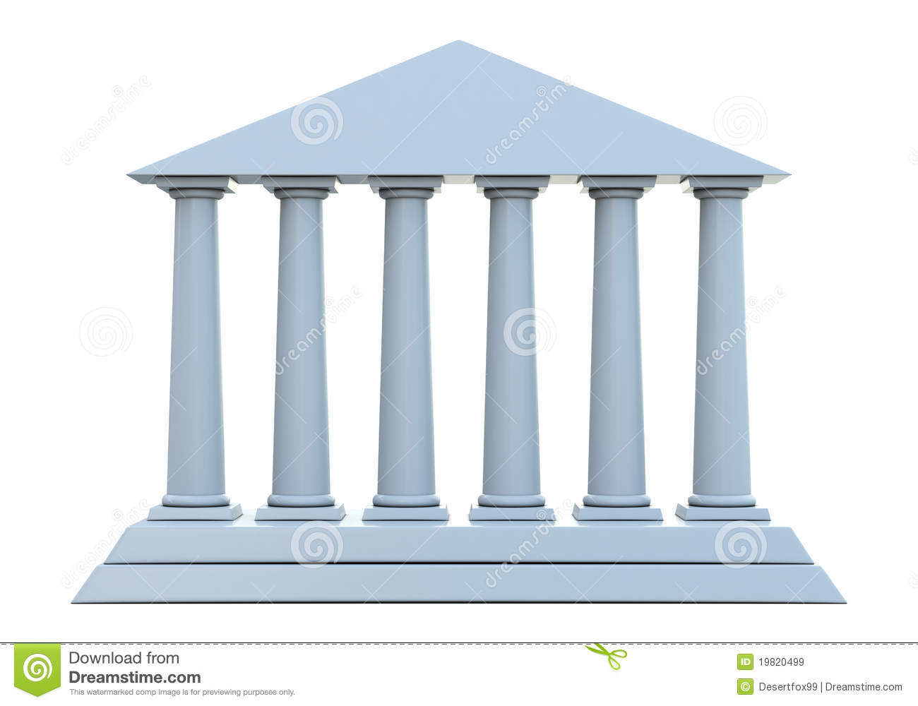 Ancient Building With 6 Columns Stock Illustration