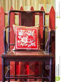 Ancient Chinese Chair With Cushion Royalty Free Stock ...