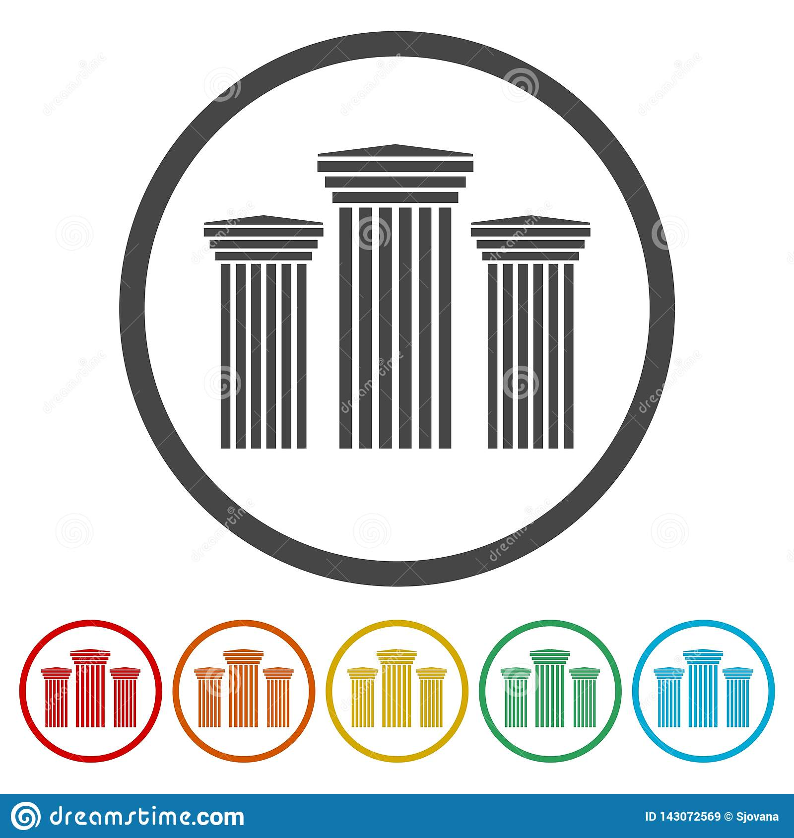ancient columns icons set