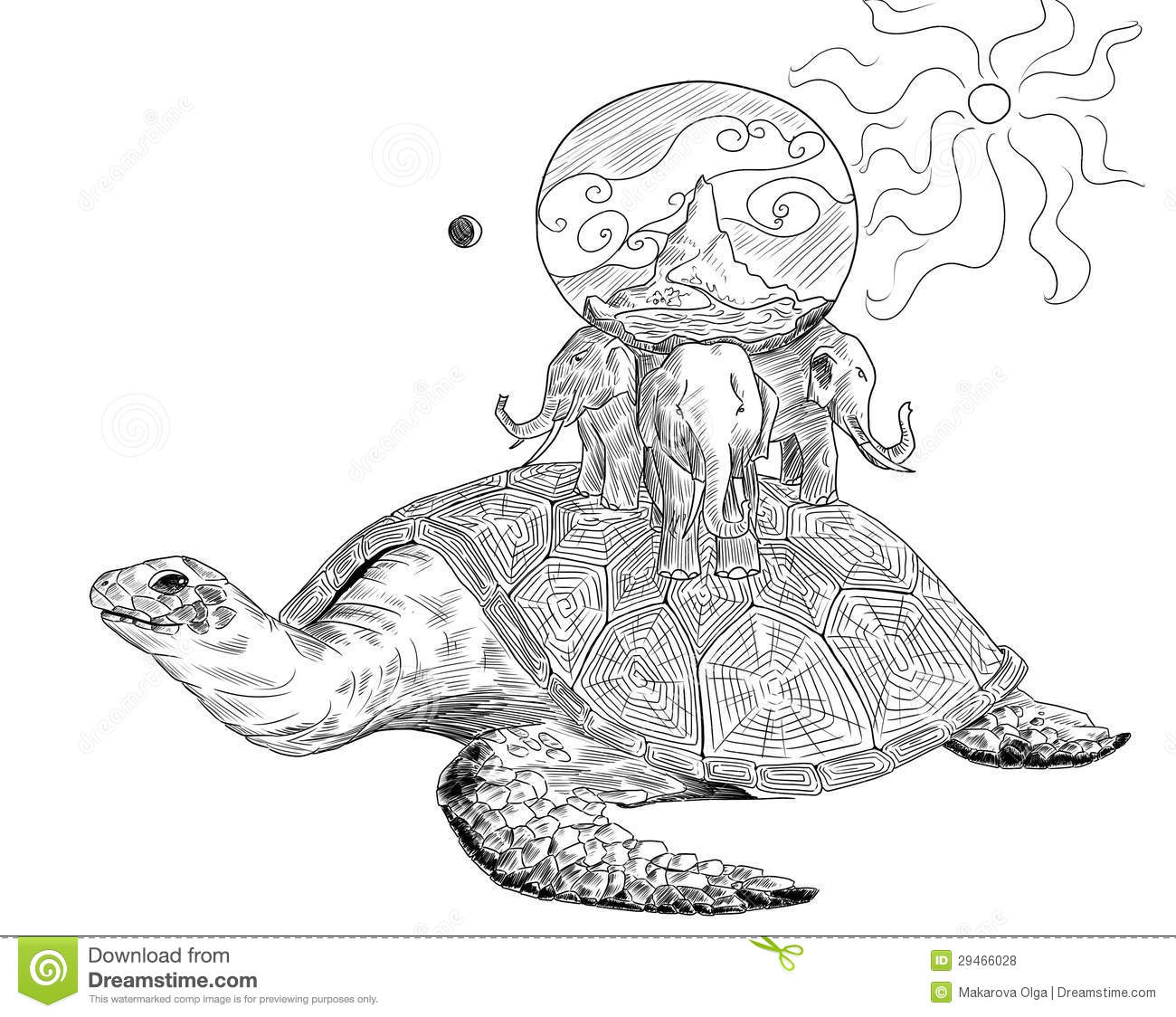 Ancient Earth On The Turtle And Three Elephants Stock