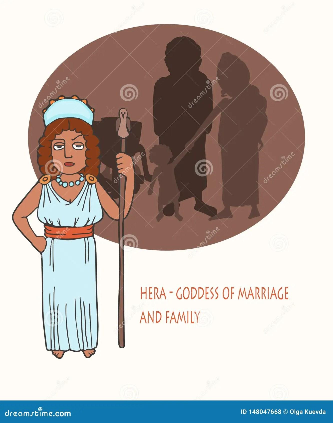 Ancient Greek Goddess Hera Cartoon Stock Vector