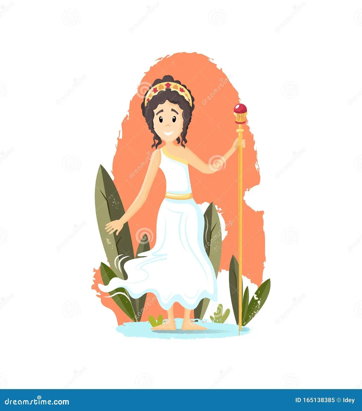 Ancient Greek Mythological Goddess Hera Vector Cartoon