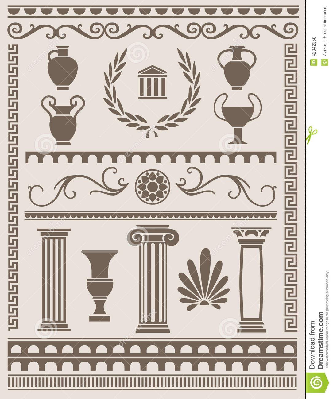 Ancient Greek And Roman Design Elements Stock Vector