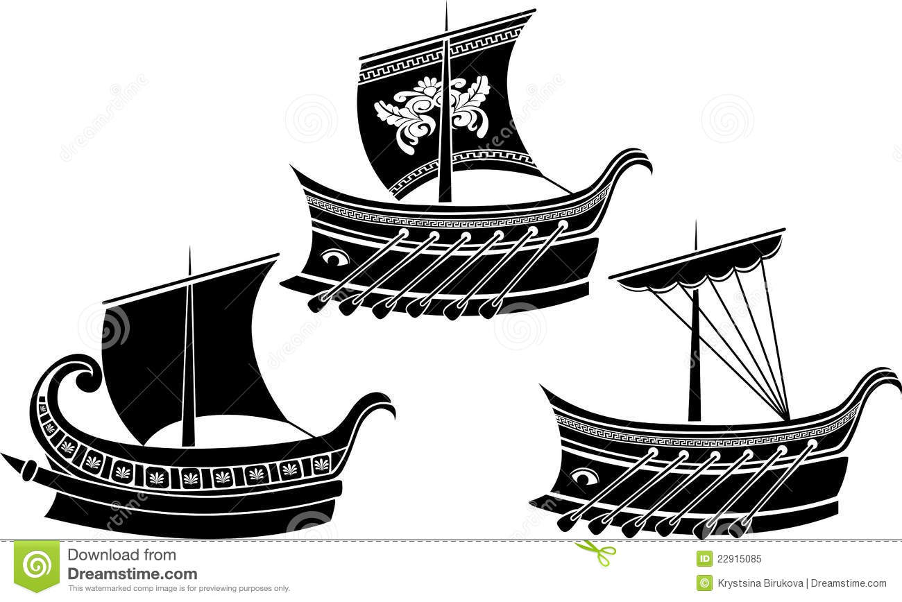 Ancient Greek Ship Set Royalty Free Stock Photo