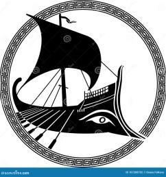 vector illustration of a logo design of an ancient greek ship [ 1300 x 1390 Pixel ]