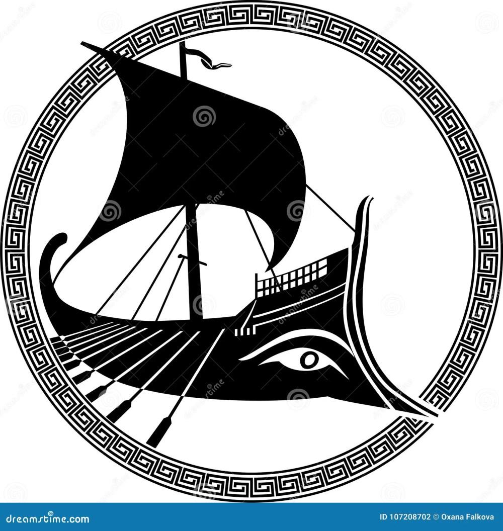 medium resolution of vector illustration of a logo design of an ancient greek ship